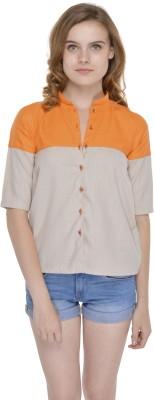 FADJUICE Women's Solid Casual Grey, Orange Shirt