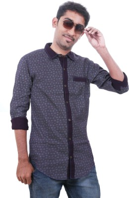 GM Fashions Men's Printed Casual Black Shirt