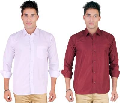 Yuva Men's Solid Casual White, Maroon Shirt