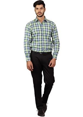 Chairman Men's Checkered Formal Green Shirt