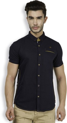 The Indian Garage Co. Men,s Solid Casual Dark Blue Shirt