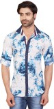 Goplay Men's Printed Casual Blue Shirt