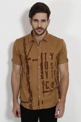 SIN Men's Solid Casual Brown Shirt