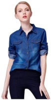 Ivy Women's Clothing - POISON IVY Women's, Girl's Self Design Casual Denim Dark Blue Shirt