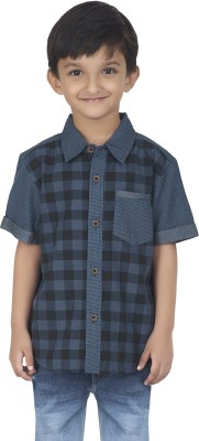 SuperYoung Boy's Checkered Casual Dark Blue Shirt