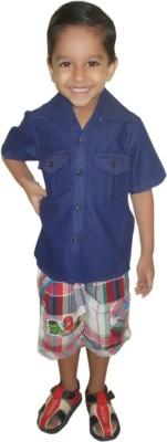 Cody Boy's Solid Formal Blue Shirt