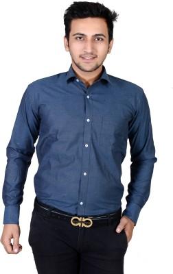 Dunley Lewis Men's Solid Formal Blue Shirt