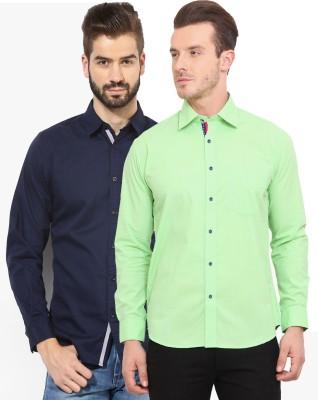 Zavlin Men,s Solid Casual Blue, Light Green Shirt