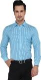 Devaa Men's Striped Casual Blue Shirt