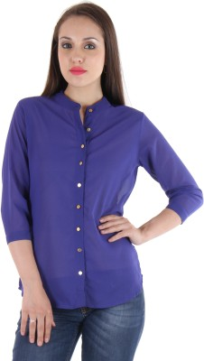 Hotberries Women's Solid Casual Blue Shirt