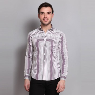 Colormode Men's Striped Formal Pink, White Shirt