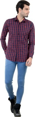 Piccolo Clothings Men's Checkered Casual Red Shirt