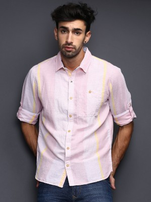 WROGN Men's Striped Casual Pink Shirt