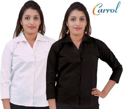 carrol Women's Solid Casual Black, White Shirt