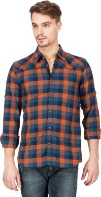 Slub By INMARK Men's Checkered Casual Orange Shirt