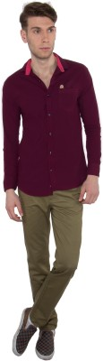 Nine Club Men's Solid Casual Purple Shirt
