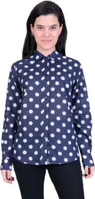 Juniper Women's Polka Print Casual Blue, White Shirt