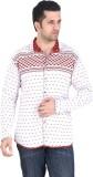 Meraki Men's Self Design Casual Red Shir...