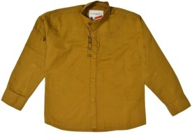 Little Man Boys Solid Casual Gold Shirt