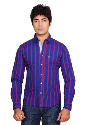 Ubho Core Men's Striped Casual Purple Shirt