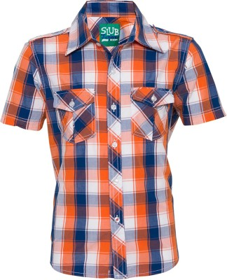 Tickles By Inmark Boy's Checkered Casual Orange Shirt