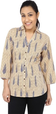 Samprada Women,s Printed Casual Beige, Blue Shirt
