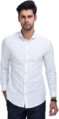 Mr Button Men's Solid Formal White Shirt