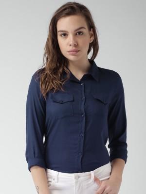 Mast & Harbour Women's Solid Casual Dark Blue Shirt