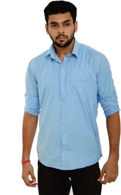 Dillidil Men's Solid Casual Blue Shirt