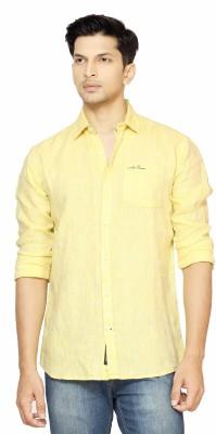 La Seven Men,s Solid Casual Linen Yellow Shirt