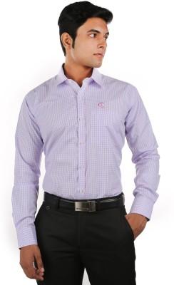 Relish Men's Checkered Formal Pink, Light Blue Shirt