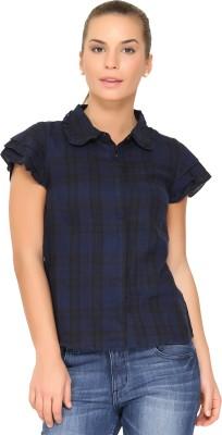 Alibi By Inmark Women's Checkered Casual Dark Blue Shirt