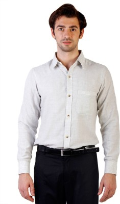 Ebry Men's Solid Formal Grey Shirt