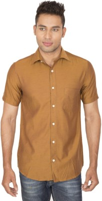 SmartCasuals Men's Solid Casual Beige Shirt