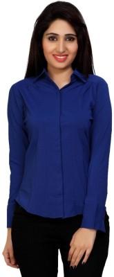 Carrel Women's Solid Formal Blue Shirt
