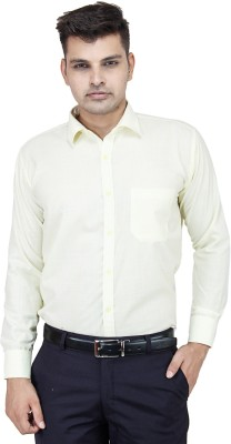 FranklinePlus Men's Solid Formal Yellow Shirt