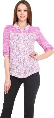 La Arista Women's Printed Casual White, Pink Shirt