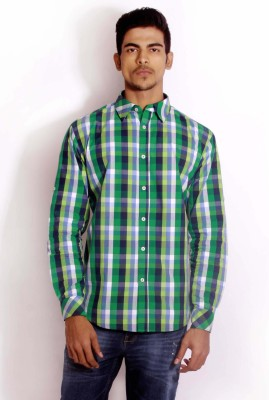 Change 360 Men's Checkered Formal Green Shirt
