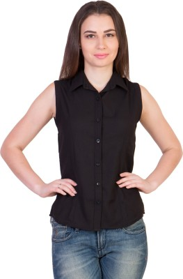 The Runner Women,s Solid Casual Black Shirt