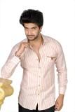 FUKREY Men's Striped Casual Pink Shirt