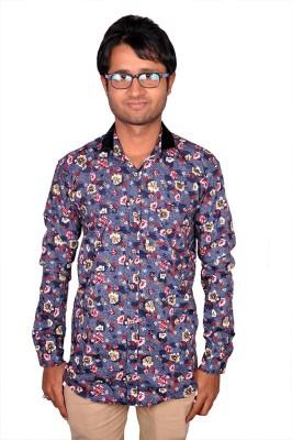 Royal Fashion Men's Floral Print Festive Blue Shirt