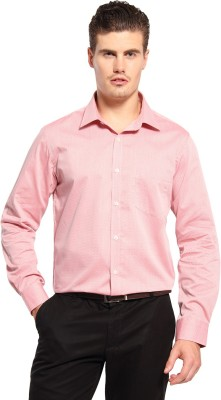 FX Jeans Co Men's Self Design Formal Red Shirt