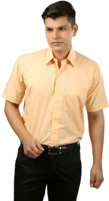 Try Me Men's Solid Formal Yellow Shirt