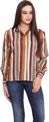 La Stella Women's Striped Casual Multicolor Shirt