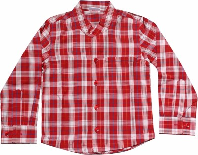 Babeezworld Boys Checkered Casual Red, White Shirt