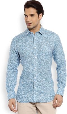Color Plus Men's Printed Casual Linen Blue Shirt