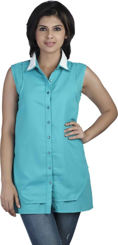 Soie Women's Solid Casual Green Shirt