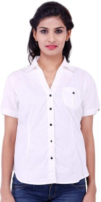 Fbbic Women's Solid Formal White Shirt