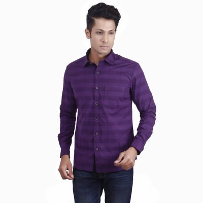 Nanya Men's Solid Casual Purple Shirt