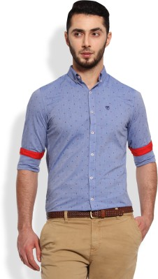 Oxford Club Men's Printed Casual Blue Shirt